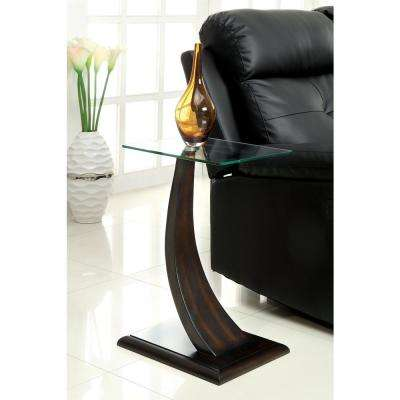 Valon Side Table in Dark Walnut Finish - 8 mm Tempered Glass