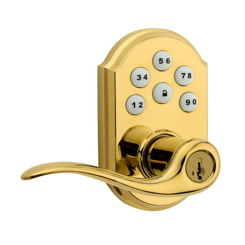 SmartCode Polished Brass Electronic Tustin Door Lever featuring SmartKey