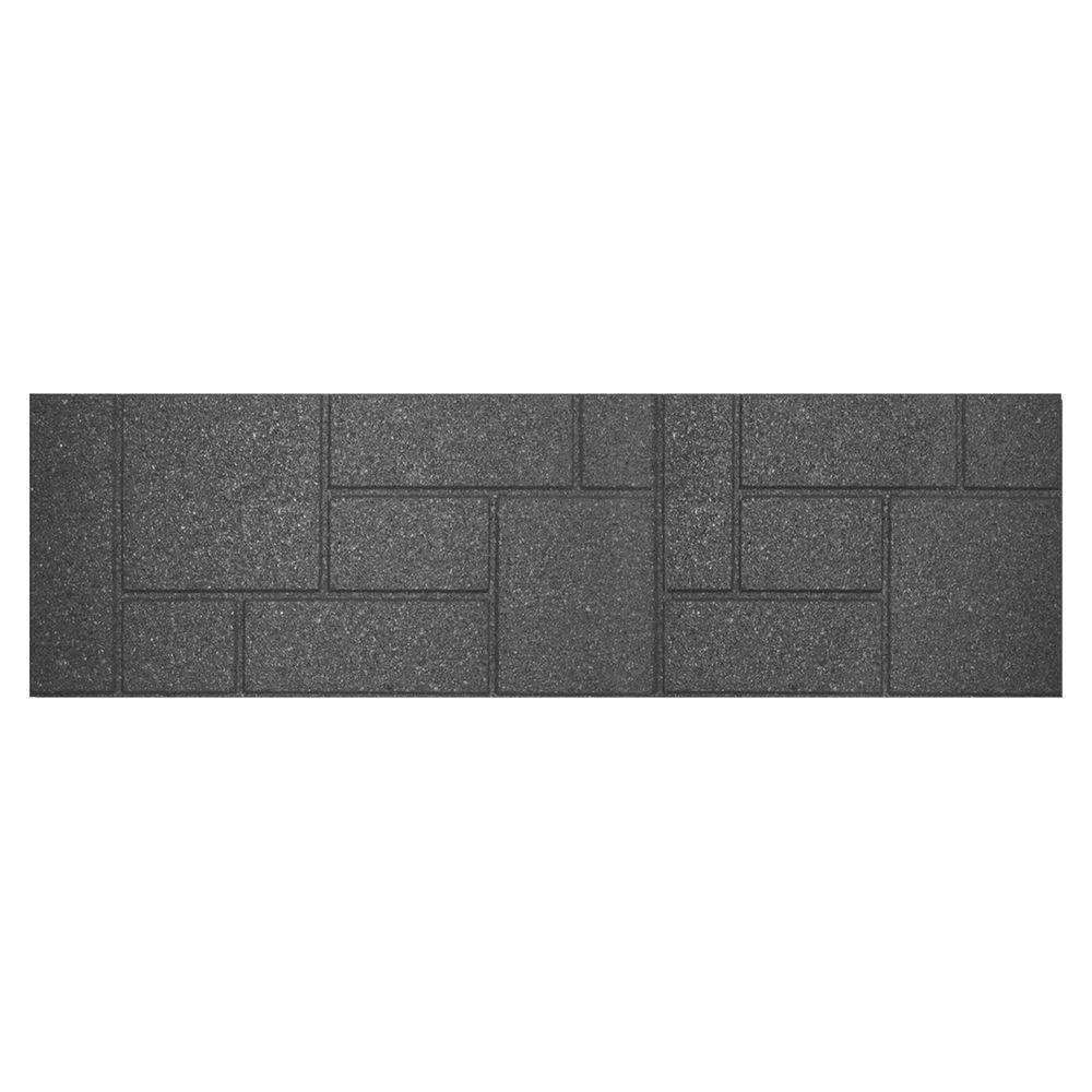 Envirotile 10 in. x 36 in. Rectangular Rubber Cobblestone Gray/Black Stair Tread