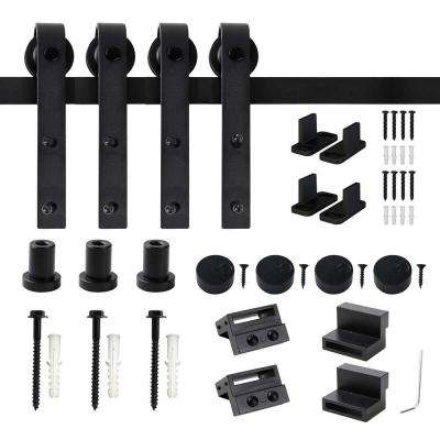 48 in. Frosted Black Sliding Barn Door Hardware Track Kit for Double Doors with Non-Routed Floor Guide