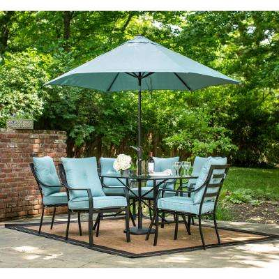 Lavallette Black Steel 7-Piece Outdoor Dining Set with Umbrella, Base and Ocean Blue Cushions