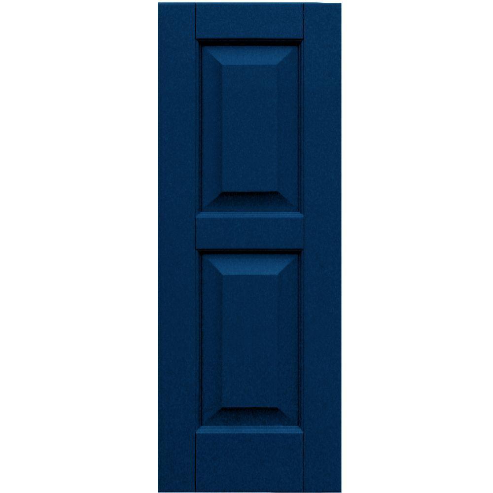 Winworks Wood Composite 12 in. x 32 in. Raised Panel Shutters Pair #637 Deep Sea Blue