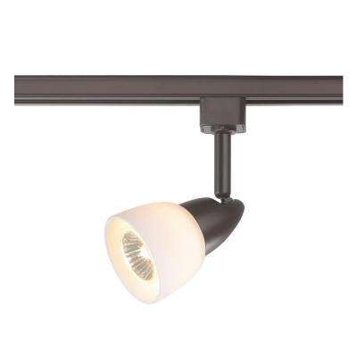 1-Light White Glass Linear Track Lighting Head