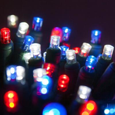 24 ft. 70-Light Wide Angle Red, White and Blue Mini LED Lights