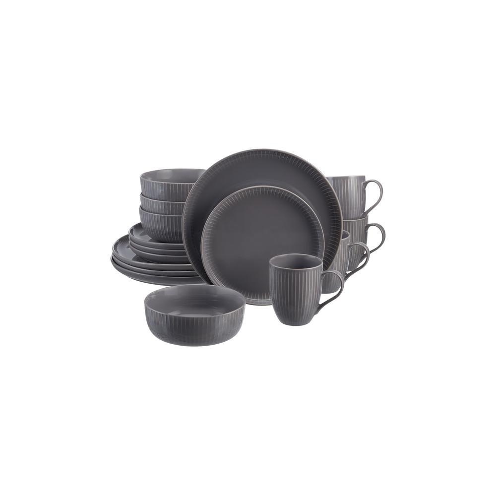 Prescott 16-Piece Charcoal Gray Stoneware Dinnerware Set (Service for 4)