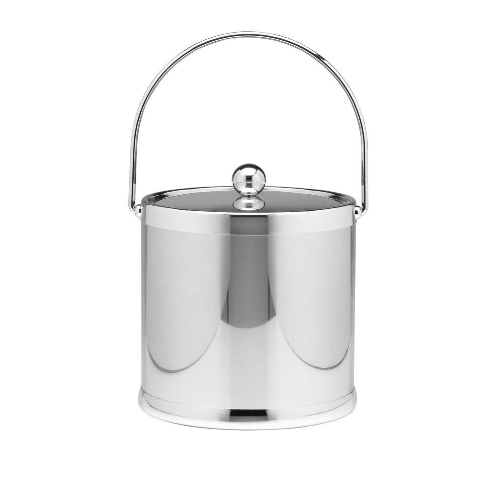 Kraftware Americano 3 Qt. Polished Chrome Ice Bucket and Lid, Metal Bale Handle