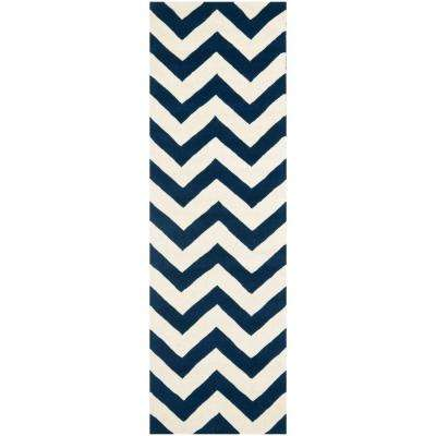 Chatham Dark Blue/Ivory 2 ft. x 11 ft. Runner Rug