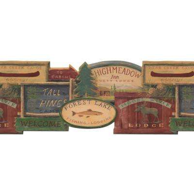 Lake Forest Lodge Rustic Lodge Signs Wallpaper Border