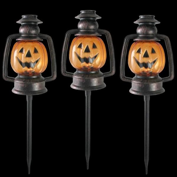 16.5 in. Flickering Pumpkin Halloween Pathway Lantern Markers (Set of 3)