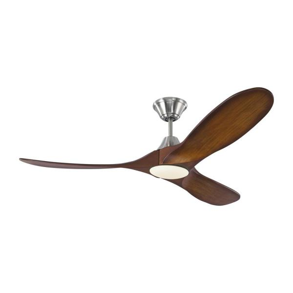 Maverick II 52 in. Integrated LED Indoor/Outdoor Brushed Steel Ceiling Fan with Koa Blades, DC Motor and Remote Control