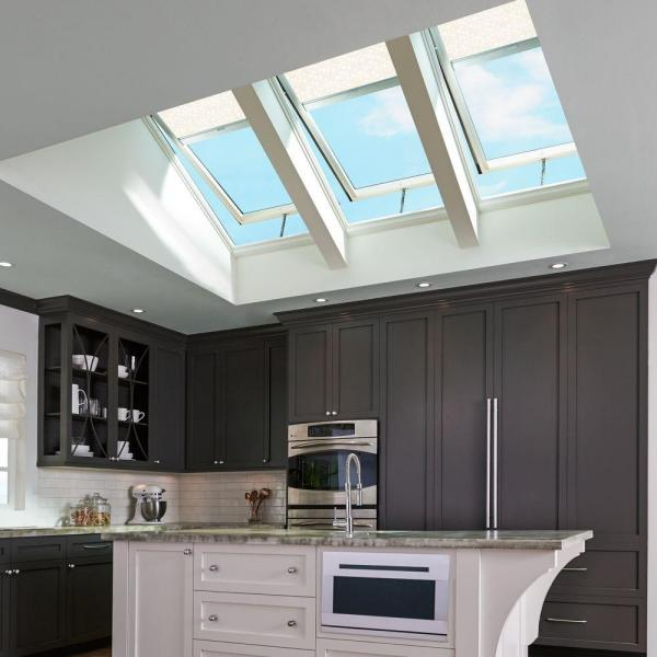 Fixed Deck Mount Skylight with Laminated Low-E3 Glass and White Solar Powered Ro