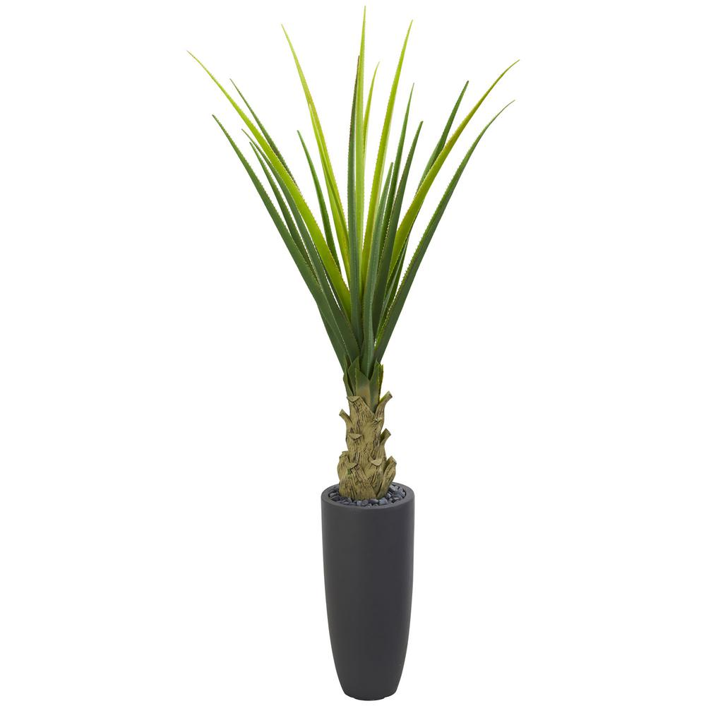Nearly Natural Indoor 4.5 ft. Agave Artificial Plant in Gray Planter