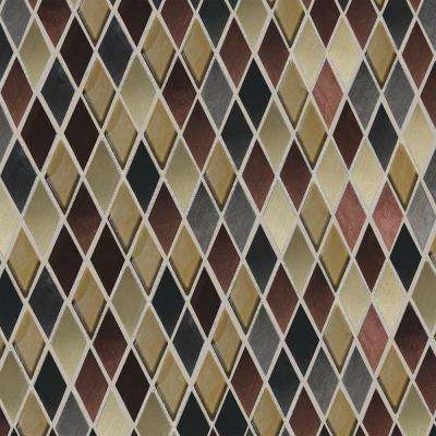 Fashion Accents Copper Blend 12 in. x 12 in. x 8 mm Glass and Stone Harlequin Mosaic Wall Tile (1 sq. ft. / piece)
