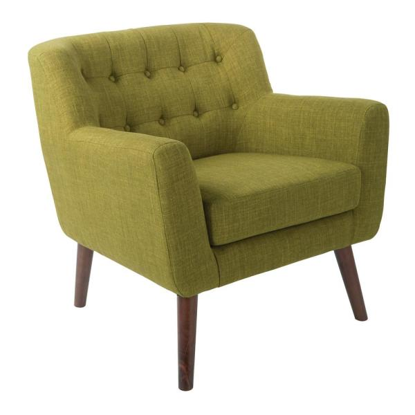 Mill Lane Green Fabric Chair with Coffee Legs