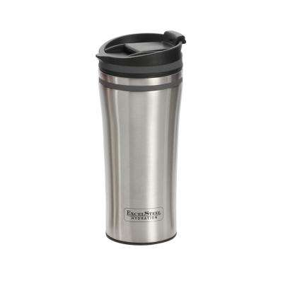 15 oz. Grey Double Wall Stainless Steel Coffee Tumbler with Silicone Ring