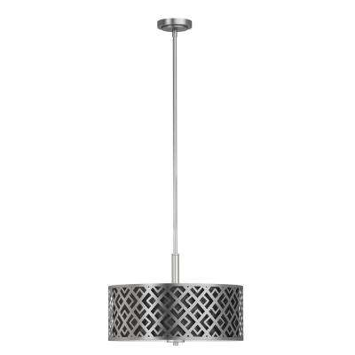 3-Light Brushed Nickel Pendant with Black and Silver Shades