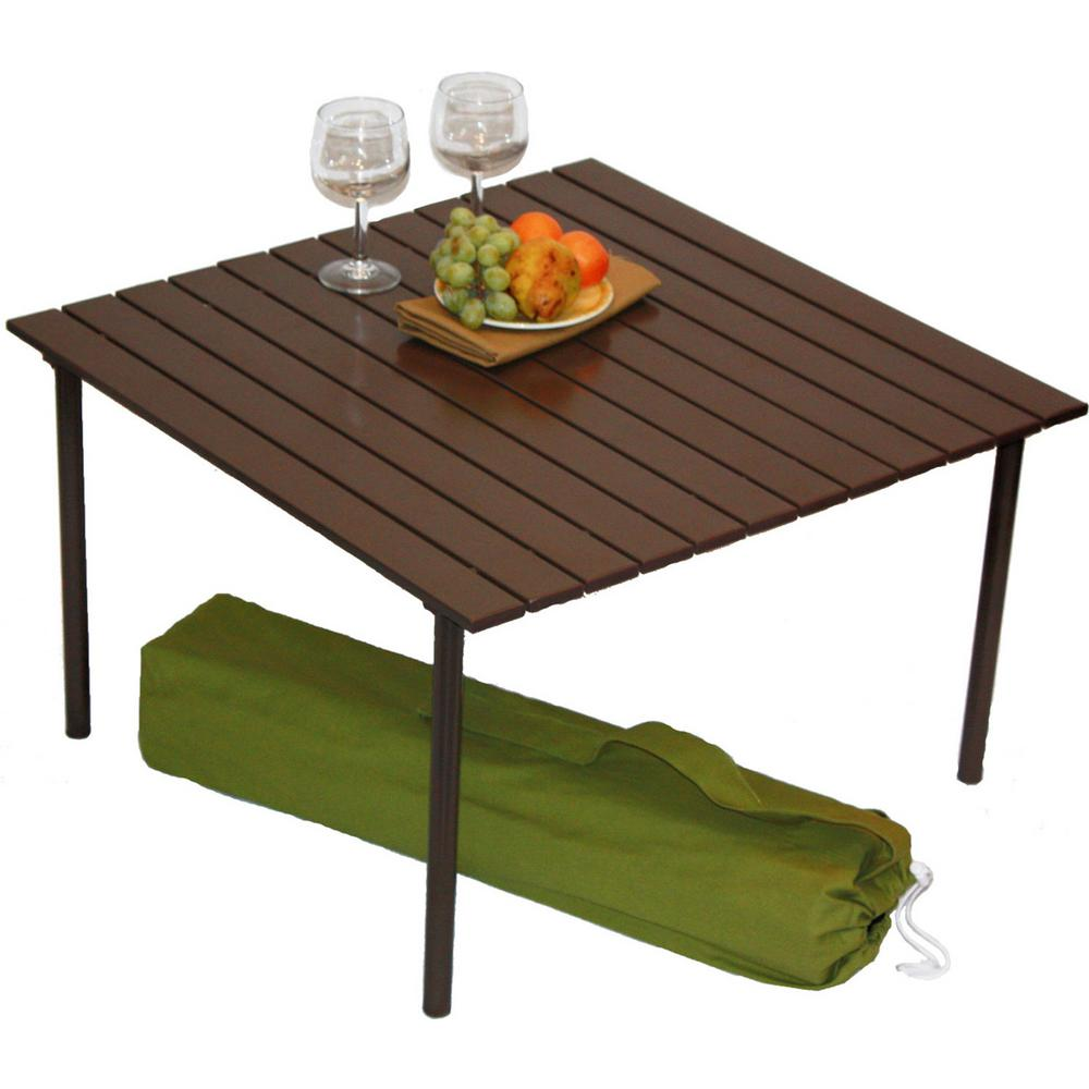 Table In A Bag Brown Aluminum Folding Outdoor Picnic