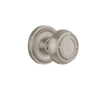 Rope Rosette 2-3/4 in. Backset Satin Nickel Passage Mission Door Knob