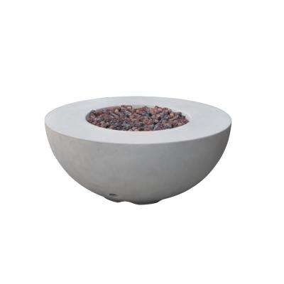 Roca 34 in. x 15 in. Round Concrete Natural Gas Fire Bowl in Light Gray
