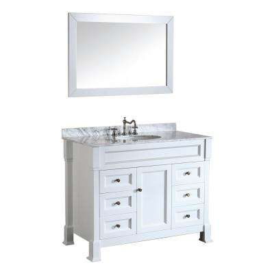Bosconi 43 in. W Single Bath Vanity in White with White Carrara Marble Vanity Top in White with White Basin and Mirror