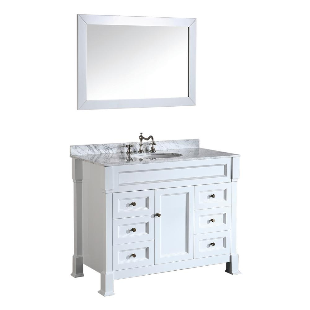 Bosconi 43 in. W Single Bath Vanity in White with White