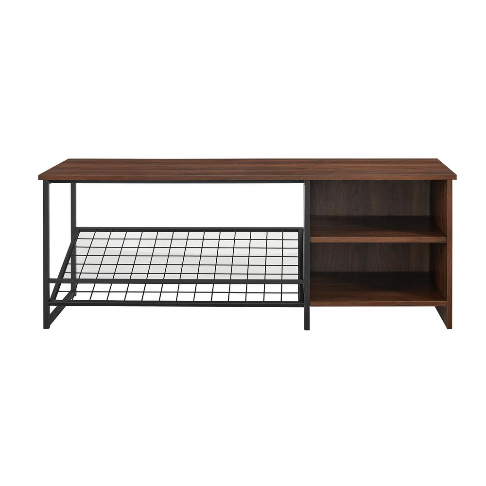 WelwickDesigns Welwick Designs 48 in. Dark Walnut Industrial Entry Bench with Shoe Storage