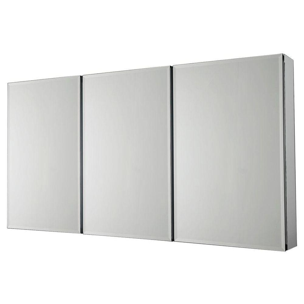 Pegasus 48 in. W x 26 in. H Frameless Recessed or Surface-Mount Tri-View Bathroom Medicine Cabinet with Beveled Mirror