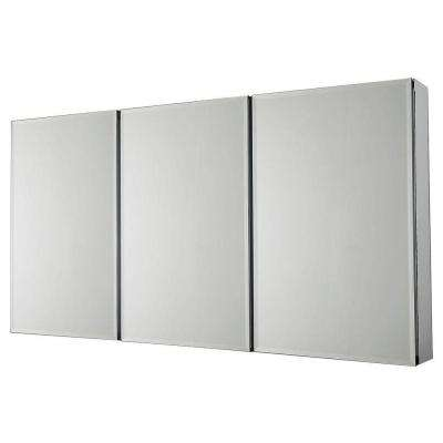 48 in. W x 26 in. H Frameless Recessed or Surface-Mount Tri-View Bathroom Medicine Cabinet with Beveled Mirror