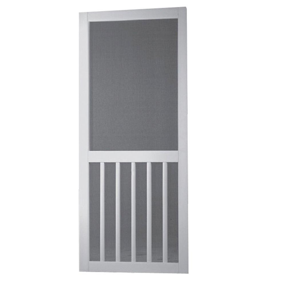 Screen tight 36 in x 80 in white solid vinyl 5 bar - 30 x 80 exterior door with pet door ...