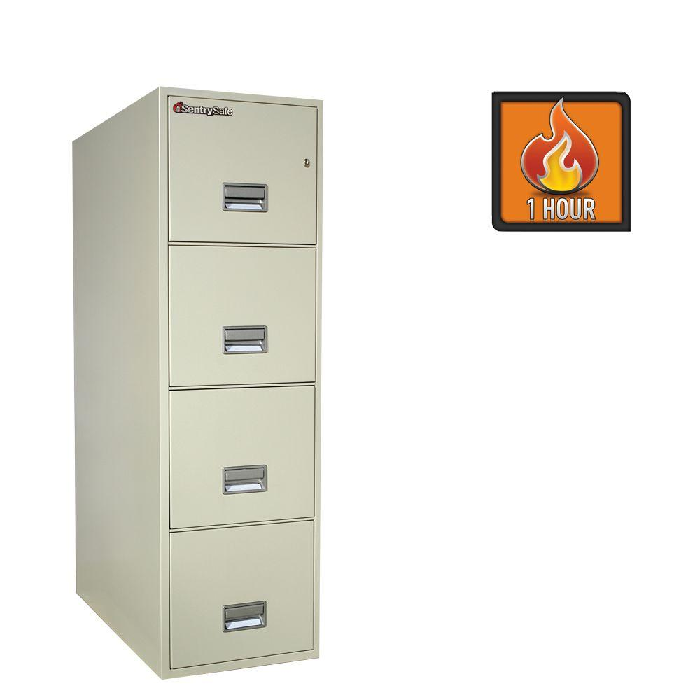 SentrySafe 4-Drawer 31 in. Deep Letter Vertical Fire File in White Glove Delivery