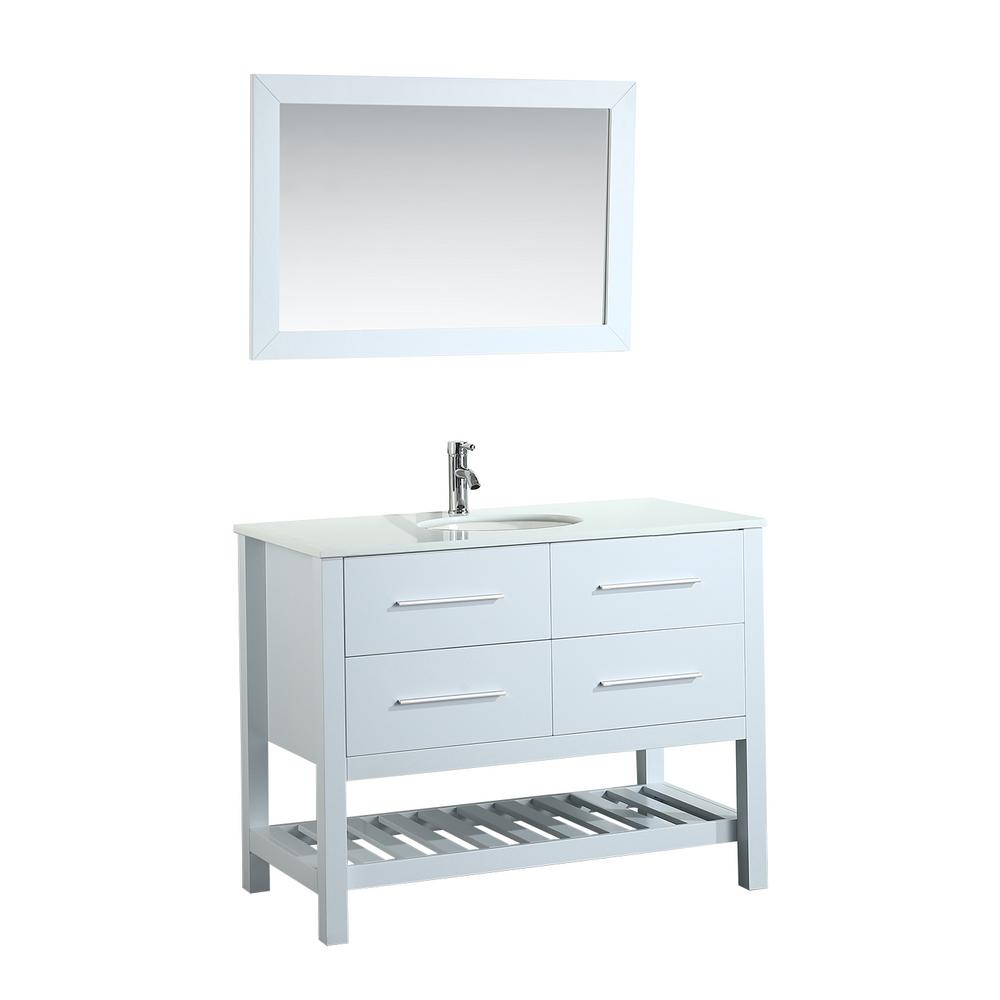 Bosconi Bosconi 43 in. W Single Bath Vanity in White with Pheonix Stone Vanity Top in White with White Basin and Mirror