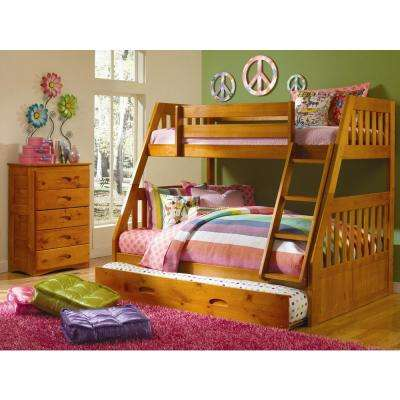 Honey Twin over Full Solid Pine Bunkbed with Twin Pull Out Trundle