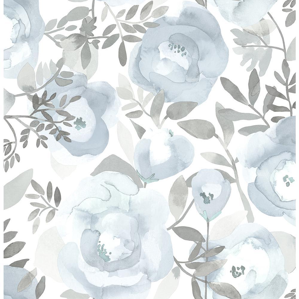 Orla Blue Floral Blue Wallpaper Sample