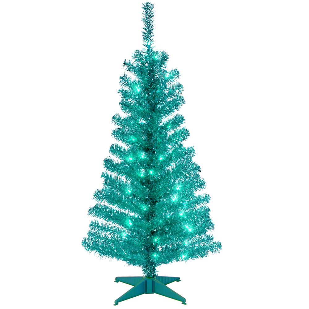 National Tree Company 4 Ft Turquoise Tinsel Artificial Christmas With Clear Lights Tt33 314 40 The Home Depot