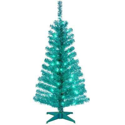 turquoise tinsel artificial christmas tree with clear lights