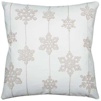 Holiday Snowflakes 20 in. x 20 in. Decorative Filled Pillow