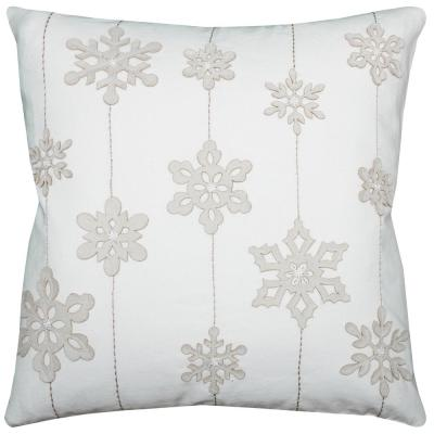 Rizzy Home PILT08608CR002020 Snowflakes Decorative Pillow Ivory
