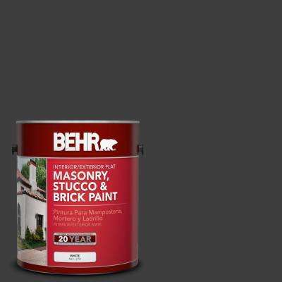 1 gal. #T13-3 Black Lacquer Flat Interior/Exterior Masonry, Stucco and Brick Paint