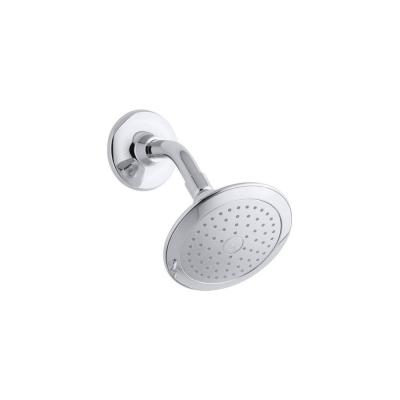 Alteo 1-Spray 5.7 in. Single Wall Mount Fixed Rain Shower Head in Polished Chrome