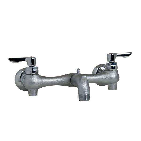 Exposed Yoke Wall-Mount 2-Handle Utility Faucet in Rough Chrome