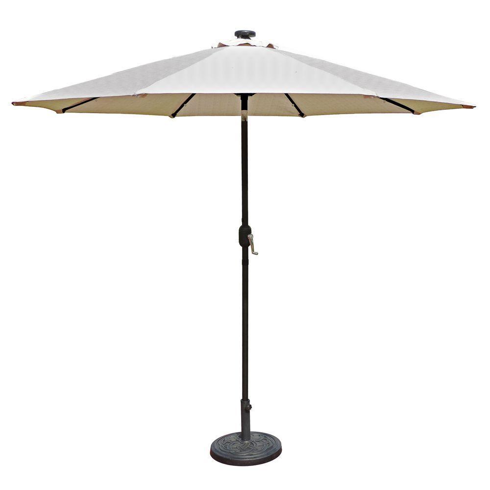 Elegant Island Umbrella Mirage Fiesta 9 Ft. Market Solar LED Auto Tilt Patio  Umbrella In