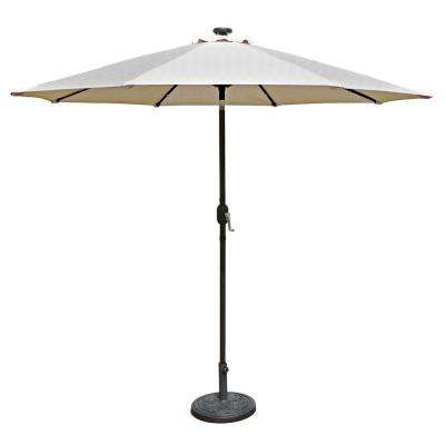 Mirage Fiesta 9 ft. Market Solar LED Auto-Tilt Patio Umbrella in Champagne Olefin