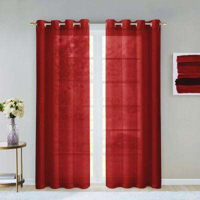 Malibu 55 in. W x 84 in. L Extra Wide Semi-Sheer Window Panel Pair in Red (2-Pack)