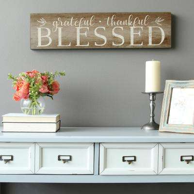 """Grateful, Thankful, Blessed"" Decorative Sign Wall Art"