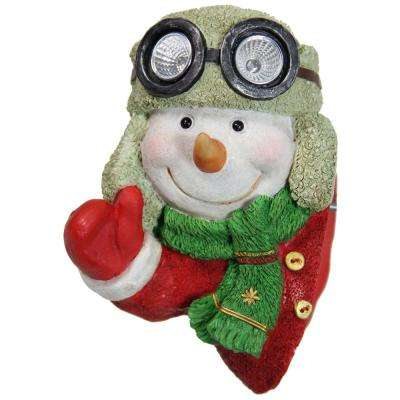 7.5 in. Solar Christmas Snowman Tree Hugger