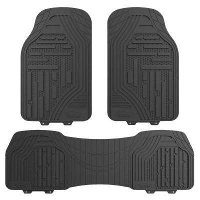 Gray Heavy Duty Trimmable 3 Pieces 27 in. x 18 in. Rubber Floor Mats