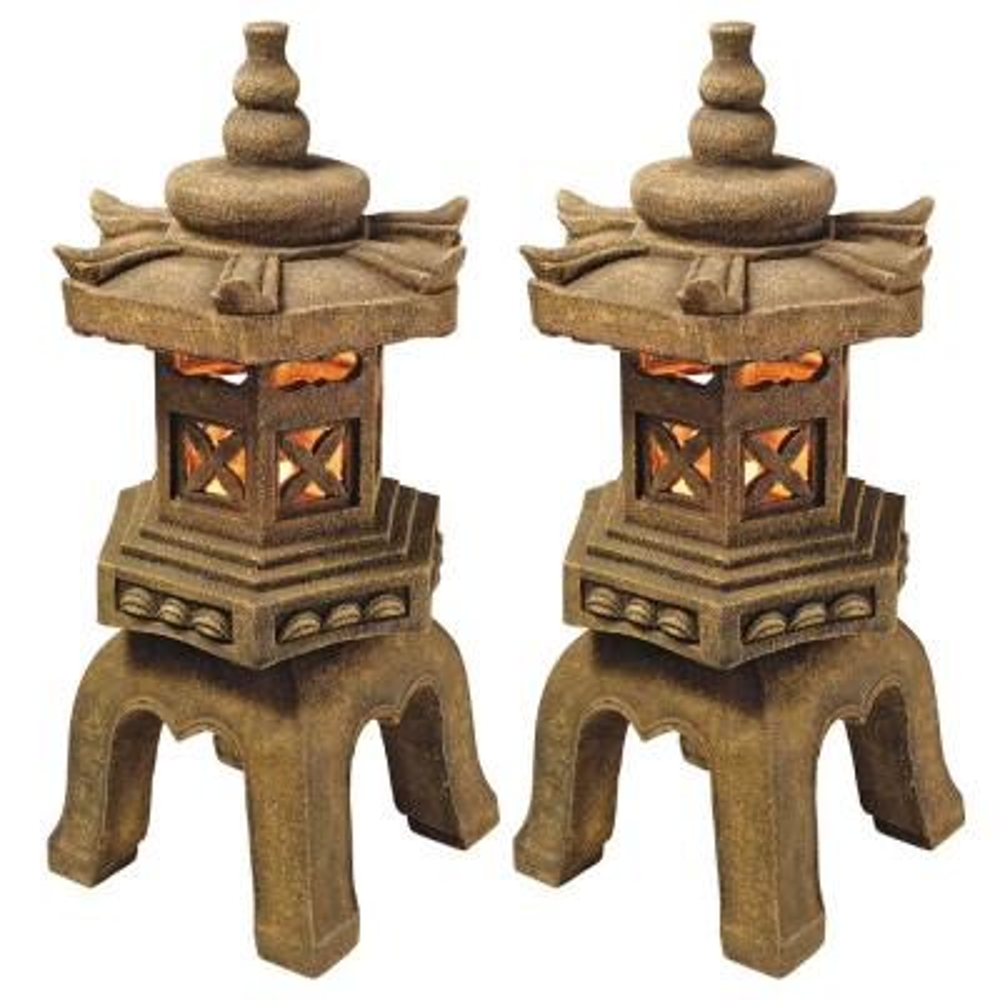 Sacred Pagoda Lantern Illuminated Statue (2-Piece Set)