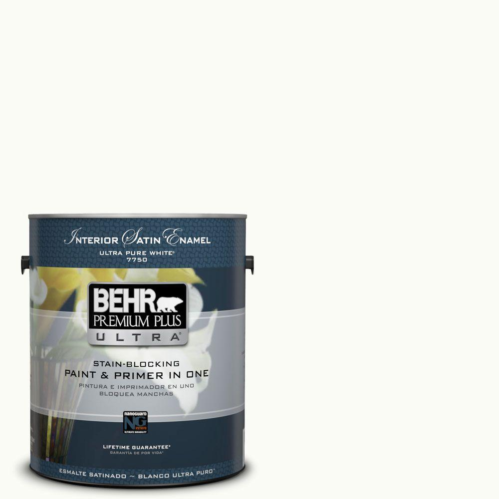 BEHR Premium Plus Ultra 1-gal. #UL260-14 Ultra Pure White Satin Enamel Exterior Paint