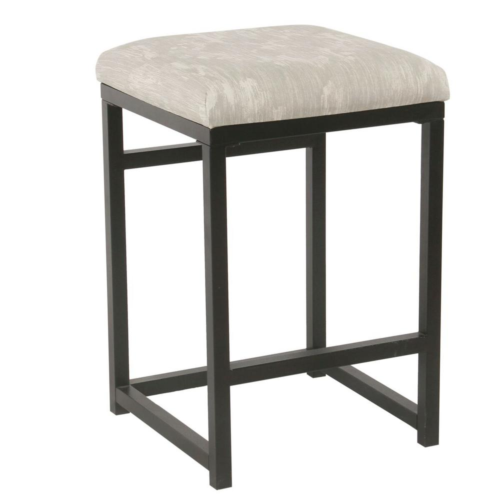 Homepop Open Back Metal 24 In Graystone Bar Stool K7651 24 A834