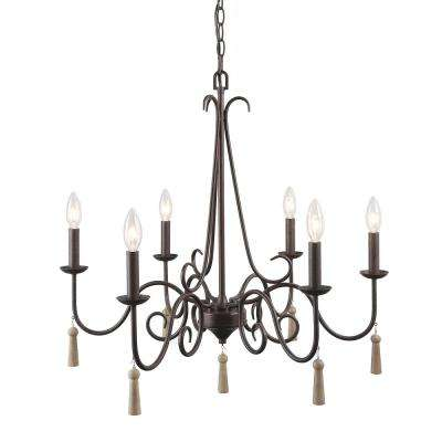 Esquilin 6-Light Bronze Chandelier with Wood Drops